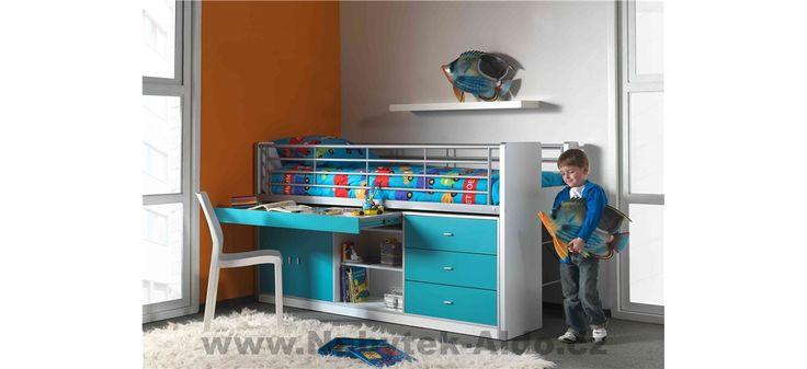 Dětská postel se zábranou a modrými detaily