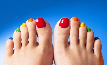 The rainbow pedicure.  An easy way to liven up your pedi!  #nailartchallenged #pedicure #nailideas via @Raging Rouge.com