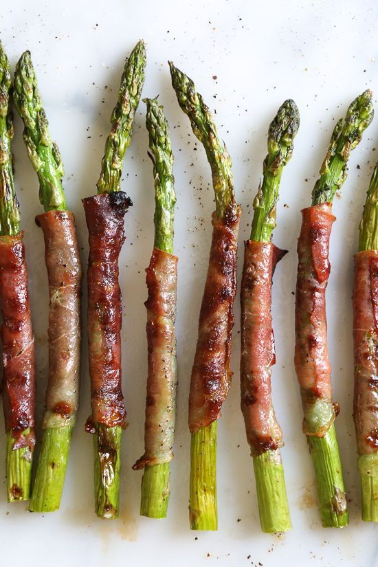 These Prosciutto Wrapped Asparagus, an easy 3-ingredient side dish, can be grilled outside or indoors if you have a grill pan. Perfect as a side dish, or as an appetizer (makes a great addition to you