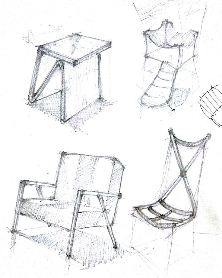 Old freehand furniture sketch