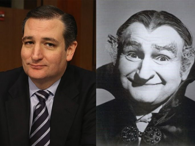 """Besides his batty wisdom, his Tea Party politics, and his there's one other thing that defines Republican candidate Ted Cruz. What's that, you ask? Well, it just so happens that Ted Cruz looks exactly like Grandpa Munster of the beloved 1960s CBS sitcom The Munsters. With their blocky heads, big protruding ears, and ornery facial expressions, it's like the two were separated at birth. Like this one, their expression just screams, """""""