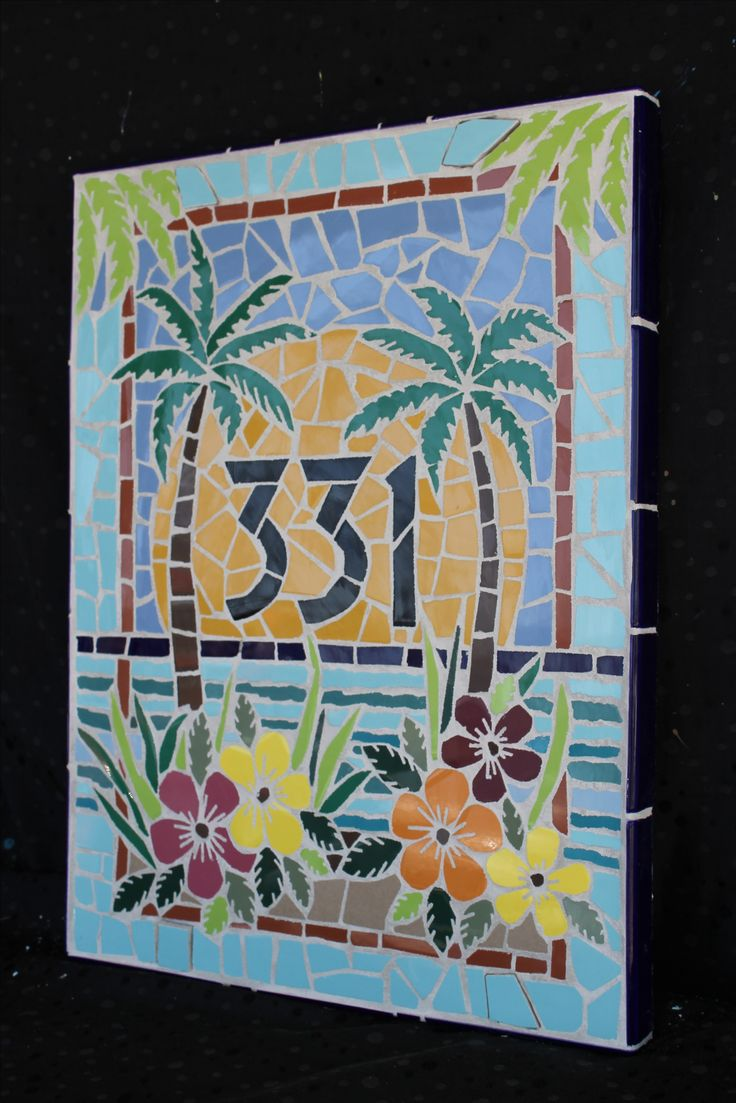 Mosaic Palm Tree mosaic house numbers mosaic by HappyHomeDesignArt