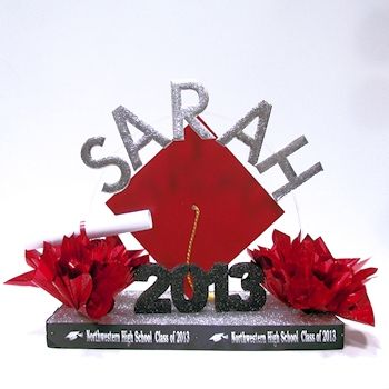 commencement celebration centerpiece for graduation party table decorations personalized with the graduates name school and year in their school colors