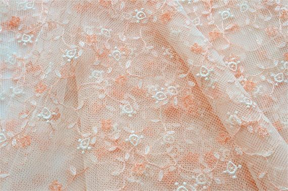Peach, Apricot, Orange Flowered Lace Fabric, Tangerine Embroidered Tulle Fabric, Apricot Girls Dress