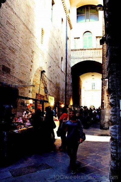 Via Priori in Perugia, a great place to buy local produce like honey, cheese, and salami.