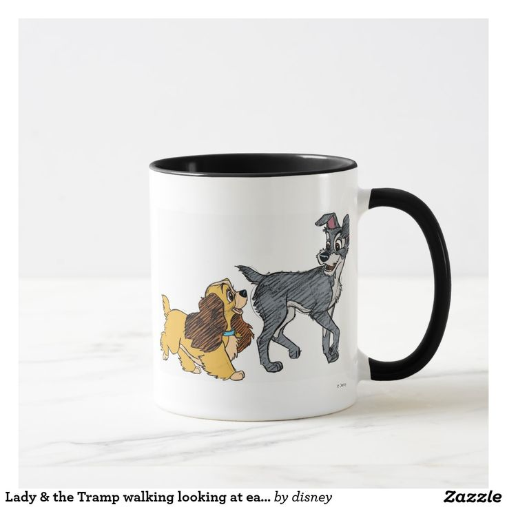 Lady & the Tramp walking looking at each other. Regalos, Gifts. Producto disponible en tienda Zazzle. Tazón, desayuno, té, café. Product available in Zazzle store. Bowl, breakfast, tea, coffee. #taza #mug