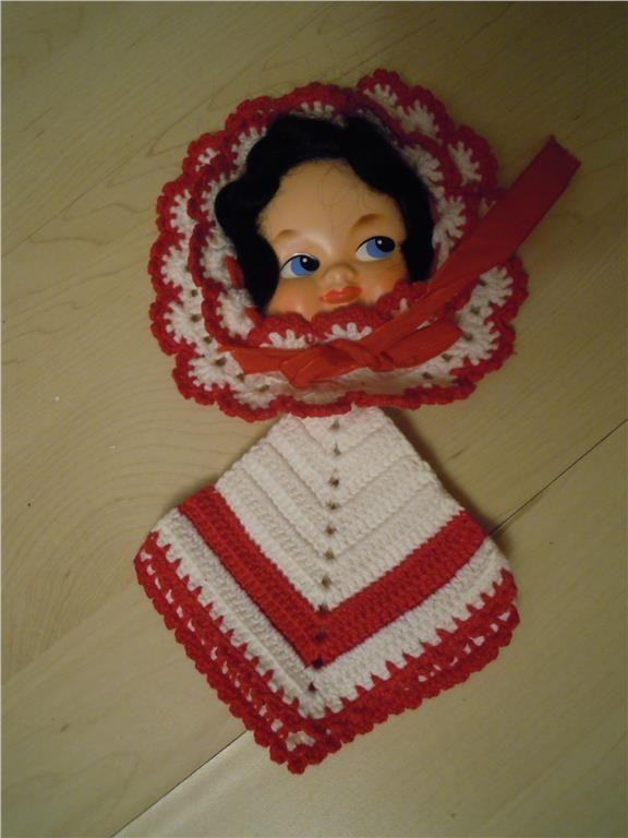 Vintage - virkad grytlapp med dockansikte