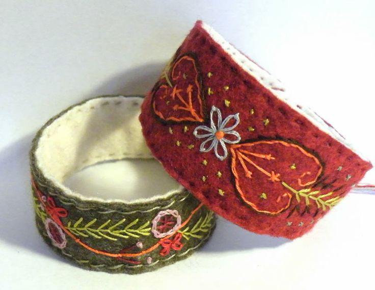 Embroidered Bracelet using felt, hand embroidery and pearl button fastening