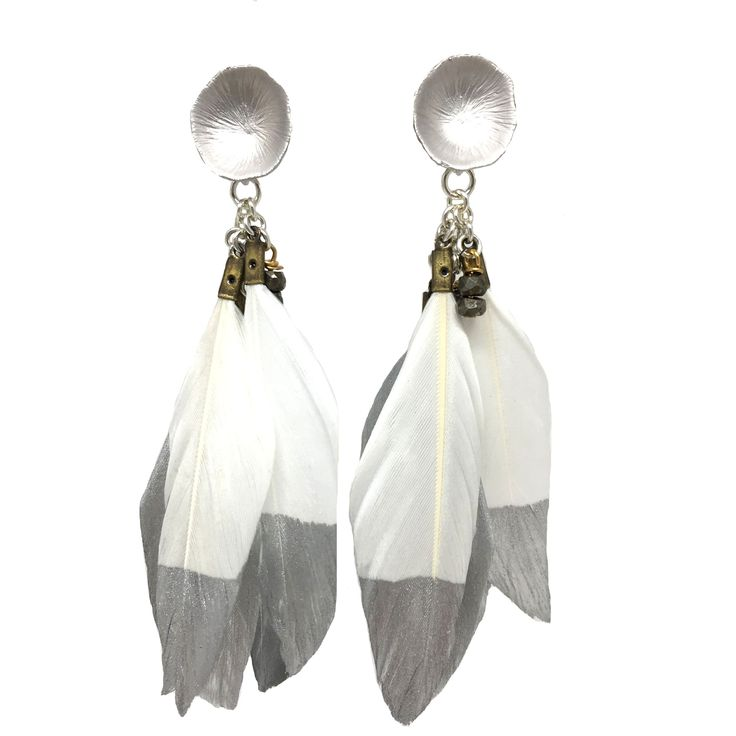 Silver Dipped Feather Earrings | White
