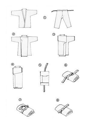 How to fold a karate gi.  It makes it very compact and easy to carry.  It looks like a lot of steps, but it's really quick once you get the hang of it.