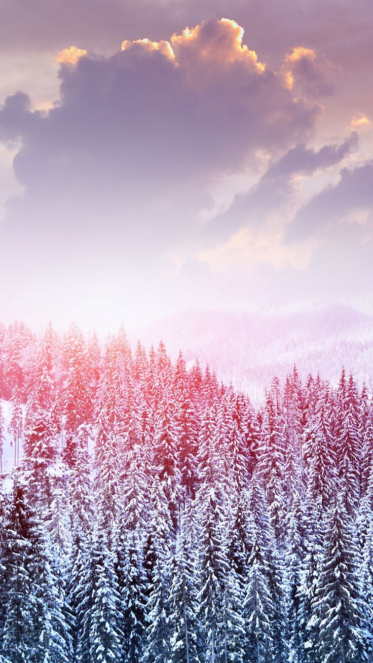 Winter snow trees mountains forest sky clouds iphone 6 wallpaper