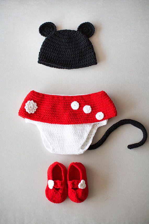 Crochet Newborn Set Crochet Minnie Mouse Set Hat by NeedleandLine