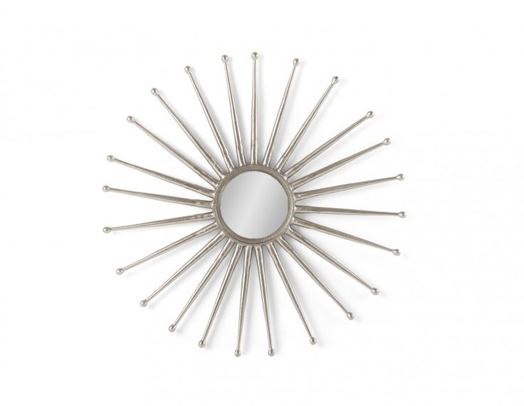 Made of aluminum in a pewter finish, Sunburst is the perfect eclectic focal point. Inspired by  mid-century antiques, this decorative mirror will add extra shine to your décor, on its own or juxtaposed with other wall accents.
