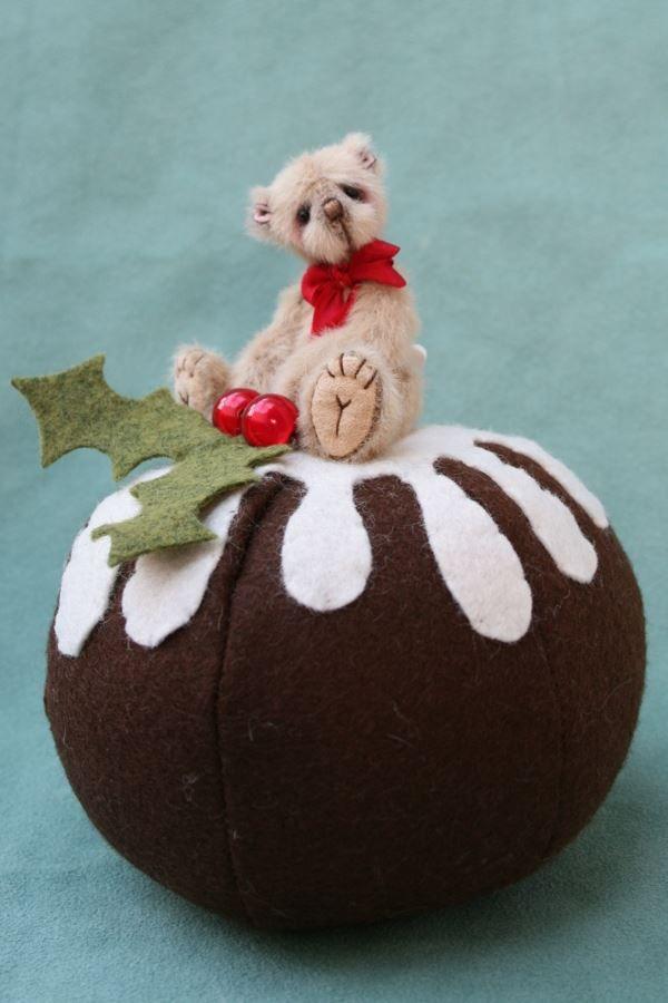 "Miniature artist teddy bear by pipkins bears - plum pudding , bear is 3"" tall on pudding pin cushion"
