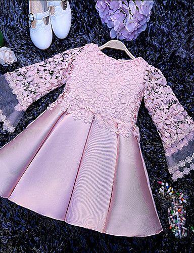 Vestido de Niña Florista - Corte en A Corta/Mini - Satén Manga Larga 4840966 2016 – $934.81