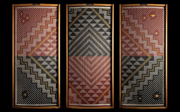 Te ao hurihuri (The changing world), tukutuku (woven wall panel), 2013, by James and Catherine Schuster, Te Rōpū Raranga
