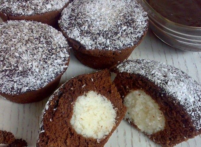 Čokoládové košíčky s kokosovým srdíčkem