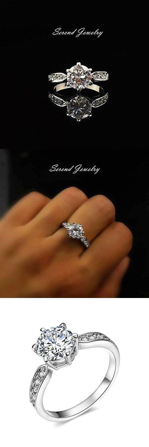 Serend 18k White Gold Plated 1.5ct Heart and Arrows Cut Cubic Zirconia Solitaire Engagement Ring, Size 6.5