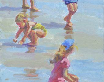ACRÍLICO ORIGINAL PINTURA A varios niños jugando en la arena húmeda. Pintura de acrílico por el artista Lucelle Raad