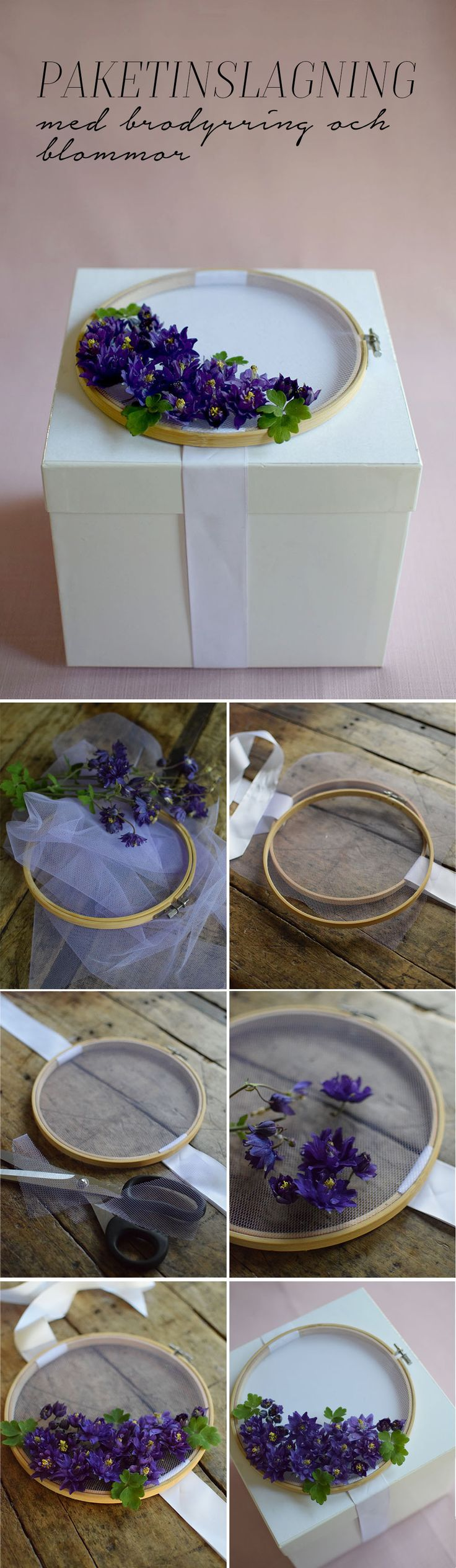 DIY, gift wrapping with flowers, embroidery ring, pyssel, slå in paket, paketinslagning med blommor och broderiring @helenalyth