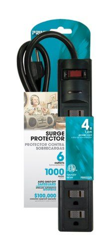 6-Outlet, Black, #1000 Joules, Surge Strip with a 4FT Cord and a Right Angle Plug. Includes a built in circuit #breaker to protect against overloads.