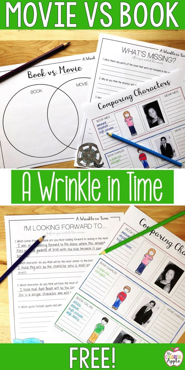 48 best literature units images on pinterest classroom ideas this free resource is a creative way for students to compare the novel a wrinkle in time to the movie these graphic organizers will help students compare fandeluxe Choice Image