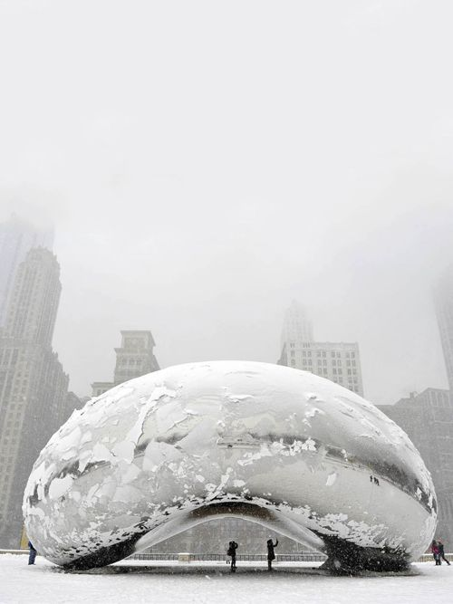 "Chicago Snow Storm by SMH (The sculpture ""Cloud Gate"", commonly known as ""the bean,"" is covered in snow.) Photography by Getty"