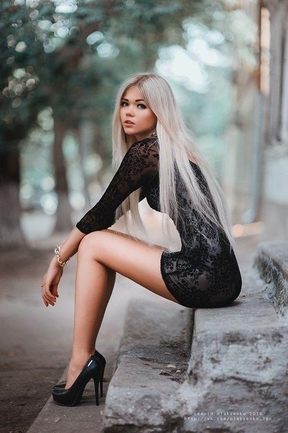 Hot skinny blonde high heels everything