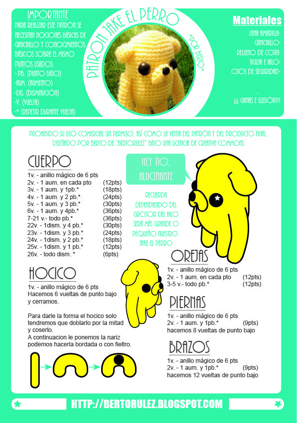 patron jake el perro the dog amigurumi