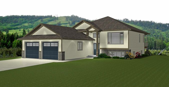 House Plan 2014813 Open Concept 3 Bedroom Bi Level By Edesignsplans Ca Open Kitchen Nook And Living Room With Cover Bi Level Homes House Plans Level Homes