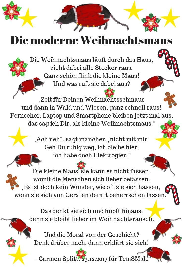 Die Weihnachtsmaus - Weihnachtsgedicht von Carmen Splitt
