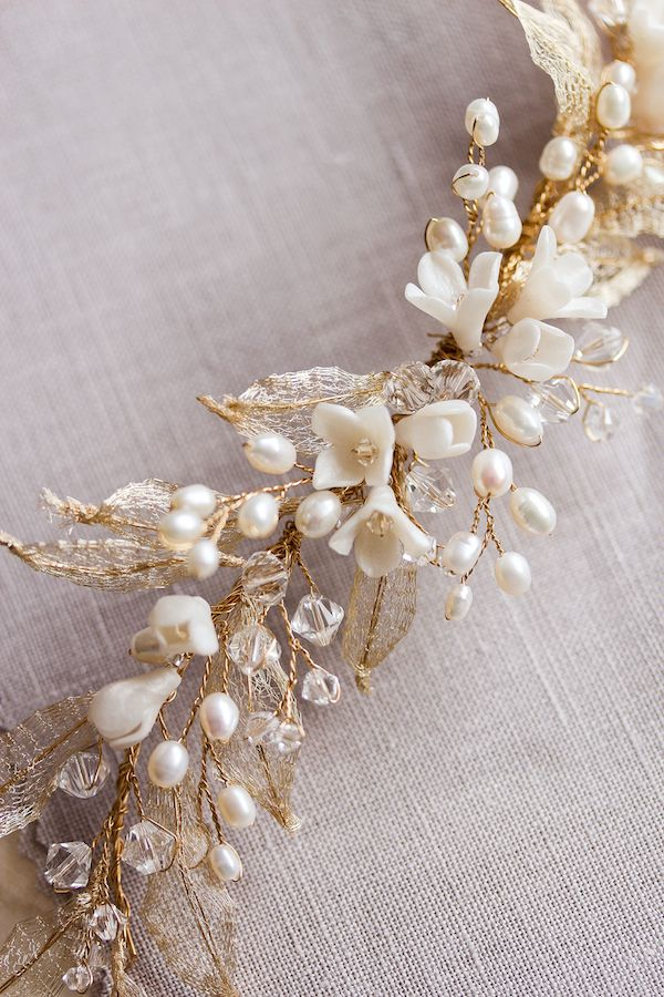 Gold pearl wedding headpiece_Bespoke by Percy Handmade