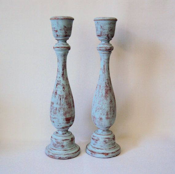 Shabby Chic Distressed Wooden Candlesticks - Tall Candle Holders - Blue and Rust Wood Candle Sticks - Rustic Country Cottage Decor