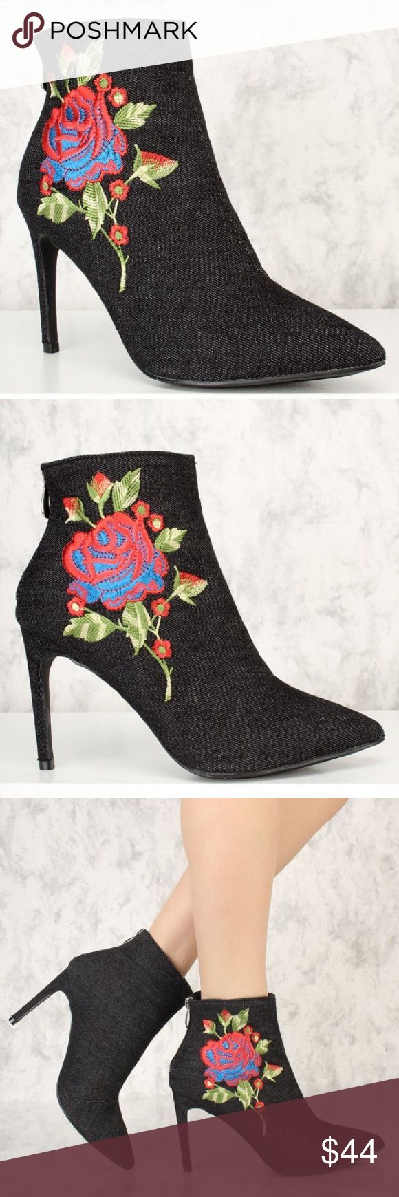 Denim boots Black denim boots with floral embroidered patch. Available sizes 6, 6.5, 7, 7.5, 8, 8.5, 9, 10, 11 please let me know what size you like Shoes Ankle Boots & Booties