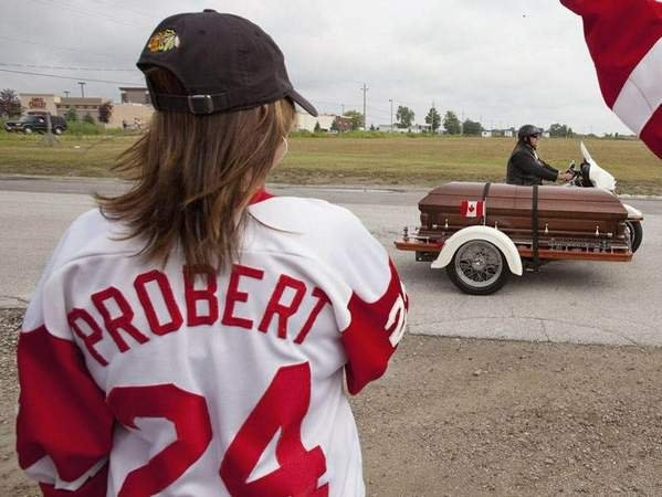 Bob Probert in his casket. This breaks my heart but also reminds me of what a badass he was.