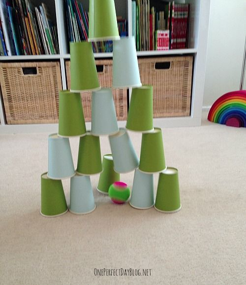 CUP GAMES stacking end to end, bowling, sort by color, make pattern, ping pong balls to toss inside on carpet
