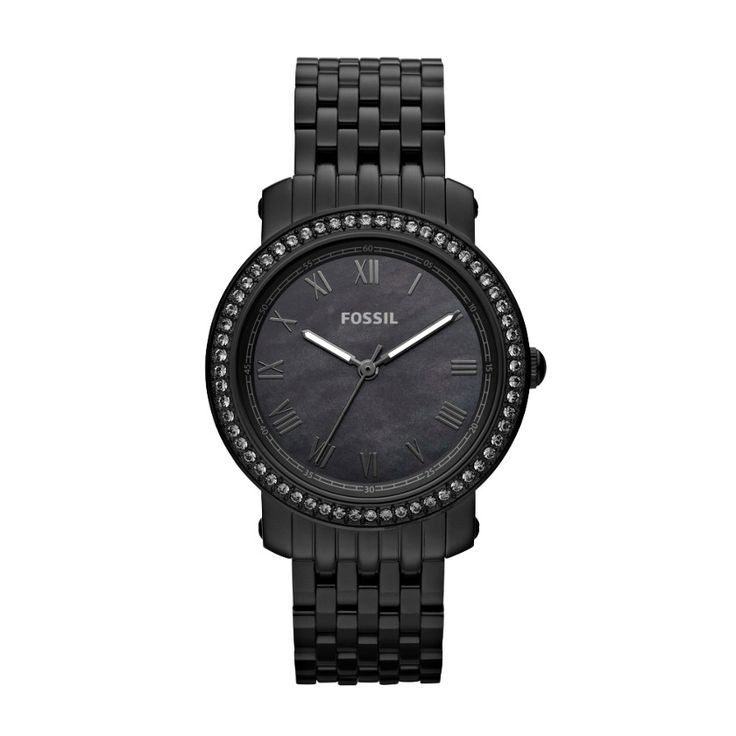 helloooo christmas list :) FOSSIL® Watch Styles Neutral Watches: Women Emma Stainless Steel Watch – Black ES3187