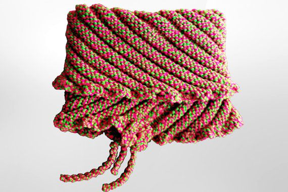 Unique, Hand knit Green & Pink Scarf Neck Warmer, Scarves For Women, Knitted Scarf, Winter Scarf Neckwarmer, Short Scarf
