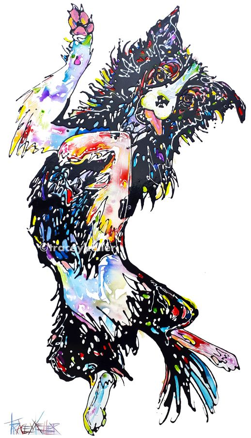 TRACEY KELLER 2017 Collie Dog | Border Collie Painting Acrylic and Resin on Canvas 140cm x 80cm