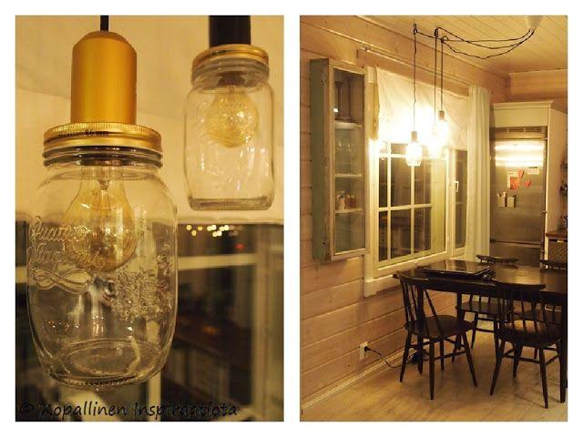 Kopallinen inspiraatiota - lasipurkkilamput - valaisimet - jars - maisonjar - diy - lamput - lights - kitchen -