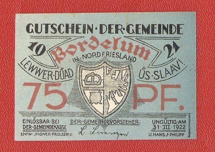 Germany Bordelum Nordfriesland 75 pfennig pf 1921 banknote notgeld Lewwer Slaav