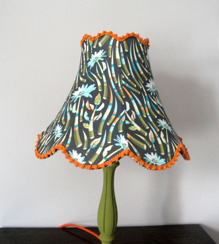 Blue and orange floral lampshade - handmade lampshade - grey lampshade - small lamp - floral decor by KatieMadeLampshades on Etsy