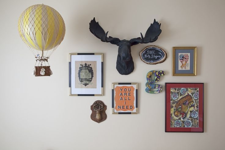 A Well-Executed Nursery Gallery Wall - lots of depth, color and - yes - a moosehead! #gallerywallVintage Neutral Nurseries, Nurseries Gallery, Gallery Walls, Photos Wall, Gallerywall, Balloons Nurseries, Hot Air Balloons, Gender Neutral Nurseries, Baby Stuff