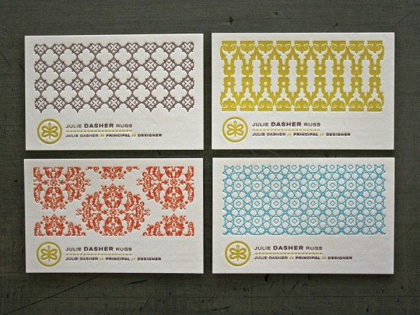 Patterned Business Cards: Card Designs, Business Cards, Julie Dasher, Dasher Rugs, Business Card Design, Businesscards, Laurie Demartino, Patterned Business