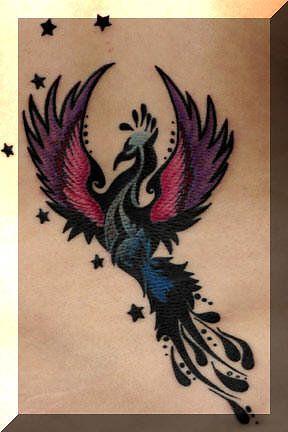 Tiny Stars And Colorful Phoenix Tattoos Photo