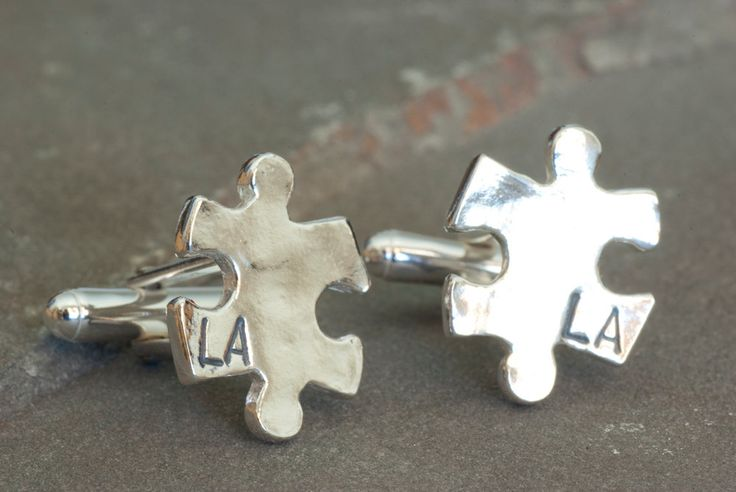 Custom Puzzle Piece Cufflinks, Personalized Cuffs, Custom Jewelry, Personalized for Him, Groomsmen Thank You, Father of the Bride Present by SilverSculptor on Etsy