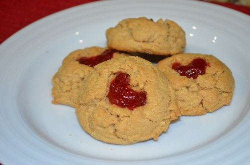 These Peanut Butter and Jelly Thumbprints are soft, light, and melt-in ...