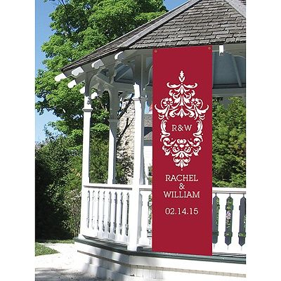 Damask Personalized Banner for the bride and grooms wedding ceremony reception too