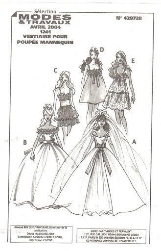 Free Fashion Doll Patterns - click on the cover; it will take you through the entire booklet.