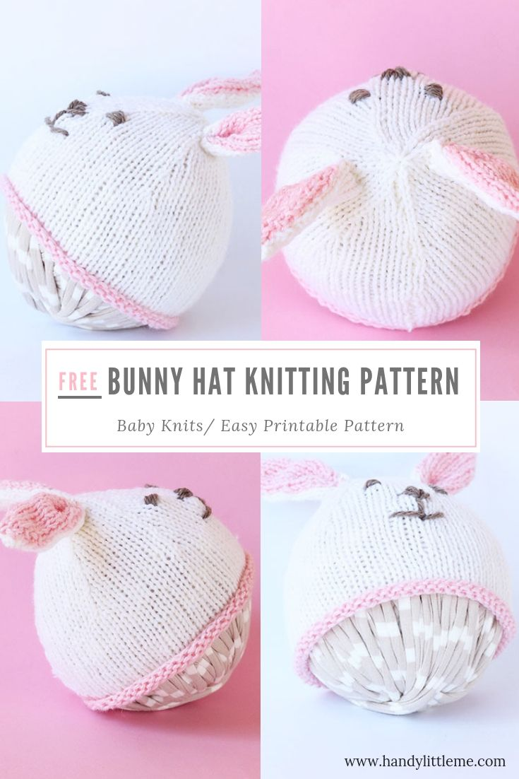 Easter Bunny Hat Knit Flat Baby Bunny Hat Baby Hat Knitting Pattern Baby Knitting